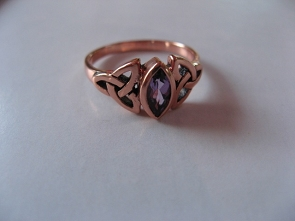 Solid copper Celtic Knot band  with Amethyst stone Size 4 ring CTR114AM- 1/4 of an inch wide.