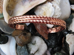 Men's 8 Inch Solid Copper Magnetic Cuff Bracelet CBM239 - 1/4 of an inch wide