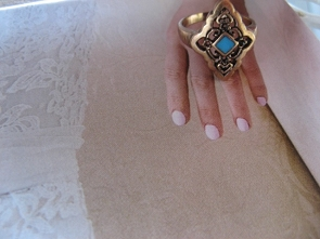 Copper Turquoise Ring CR2805 - Size 8 - 3/4 of an inch wide.