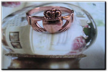 Solid copper Celtic Claddagh band Size 8 ring CMG058 - 3/8 of an inch wide.