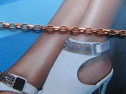 Solid Copper Anklet CA718G - 1/8 of an inch wide - Available in 8 to 12 inch lengths.