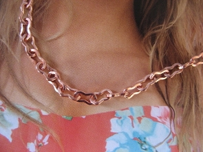 22 Inch Length Solid Copper Chain CN830G -  3/16 of an inch wide.