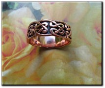 Solid copper Celtic Knot band Size 9 ring CTR625 - 1/4 of an inch wide.