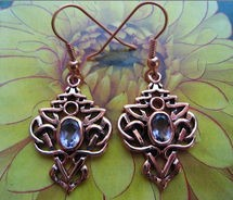 Solid Copper Celtic Knot Earrings #CTE593AM- CZ Amethyst stones.