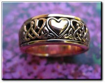 Solid copper Celtic Knot Spinner band Size 8 ring CTR3644 - 5/16 of an inch wide.