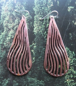 Solid Copper Earrings  CE997E -3  inches long.