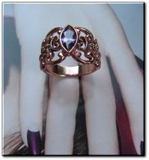 Solid Copper Celtic Genuine Amethyst Stone Band Size 5 Ring  #CTR754- 3/8 of an inch wide.