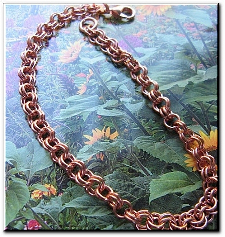 Solid Copper Anklet CA656G - 3/16 of an inch wide - Available in 8 to 12 inch lengths