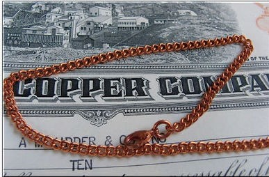 Ladies Solid Copper 8 1/2 Inch Bracelet CB657G - 1/8 of an inch wide