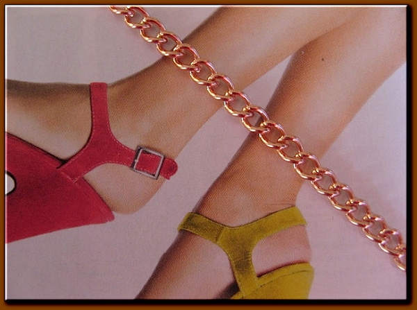 Solid Copper Anklet CA674G - 1/8 of an inch wide - Available in 8 to 12 inch lengths