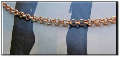 Solid Copper Anklet CA691G - 1/8 of an inch wide - Available in 8 to 11 inches lengths