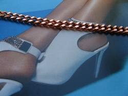 Solid Copper Anklet CA719G - 3/16 of an inch wide - Available in 8 to 12 inch lengths.