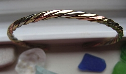 Women's 7 Inch Copper, Nickel And Brass Cuff Bracelet CB204M -  1/8 of an inch wide.