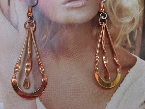 Solid Copper Earrings  CE270JL - 1 1/2 inches long.