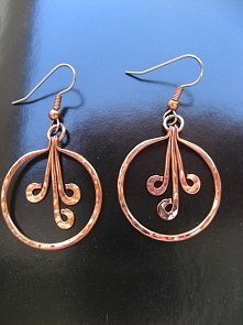 Solid Copper Earrings  CE273JL - 1 inch round.
