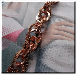 Ladies Solid Copper 6 1/2 Inch Bracelet CB688G - 1/2 an inch wide - Medium  weight.