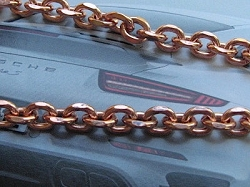 22 Inch Length Solid Copper Chain CN603G -  1/4 of an inch wide