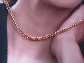 22 Inch Length Solid Copper Chain CN648G -  3/16 of an inch wide
