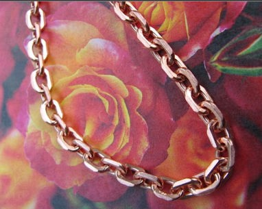 22  Inch Length Solid Copper Chain CN678G -  3/16 of an inch wide