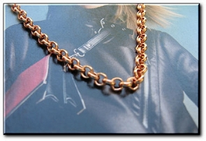 24 Inch Length Solid Copper Chain CN676G -  1/8 of an inch wide
