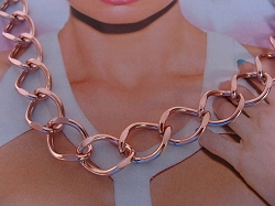 24 Inch Length Solid Copper Chain CN716G -  7/16 of an inch wide - Light weight.