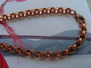 22 Inch Length Solid Copper Chain CN705 -  5/16 of an inch wide