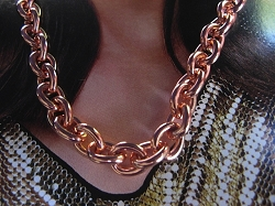 22 Inch Length Solid Copper Chain CN715G -  5/16 of an inch wide