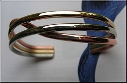 Women's 7 Inch Solid Copper and German Silver Cuff Bracelet CB443M - 5/8 of an inch wide.