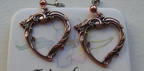 Solid Copper Earrings  CE043- 1 inch long.