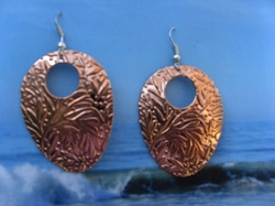 Solid Copper Earrings  CE133E - 2  inches long.