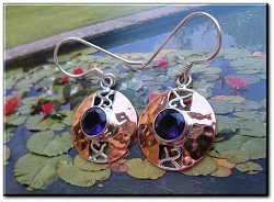 Copper Stone earrings  with Amethyst CZ stones  CE215VW -5/8 of an inch round