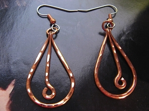Solid Copper Earrings  CE266JL - 1 1/2 inches long.