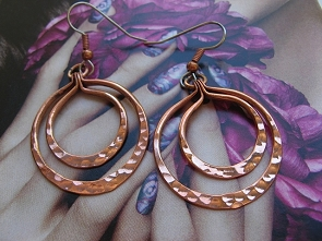 Solid Copper Earrings  CE271JL - 1 1/4 inches round.