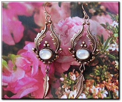 Copper Mother Of Pearl Stone Earrings 3294 - 2 inches long.