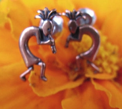 Copper Stud Earrings CE463 - tiny Kokopelli earrings