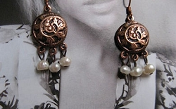 Copper Pearl Stone Earrings CE9023- 1 1/4 inches long.