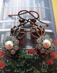 Copper Green Agate  Pearl Stone Earrings CE9088 1 3/4 inches long.