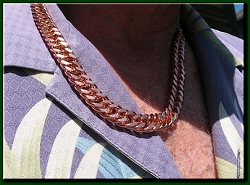 22 Inch Length Solid Copper Chain CN638G -  7/16 of an inch wide