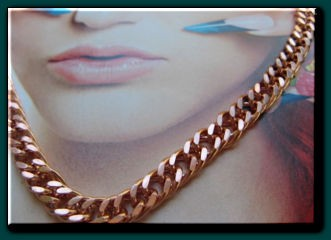 22 inch Length Solid Copper Chain CN652G - 1/4 of an inch wide