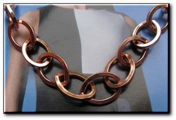 22 Inch Length Solid Copper Chain CN681G - 7/16 of an inch wide