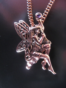 Solid Copper Celtic Fairy Pendant #CPD554