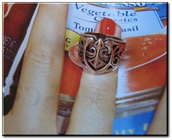 Solid copper Fleur de lis Ring #CR2198- Size 8 - 3/4 of an inch wide.