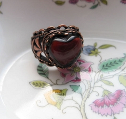 Copper Garnet Heart  Ring CR2612 Size 9 1/2- 9/16 of an inch wide.