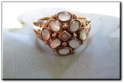 Copper Mother Of Pearl stone Ring CR2661 - Size 9  - 5/8 of an inch wide.