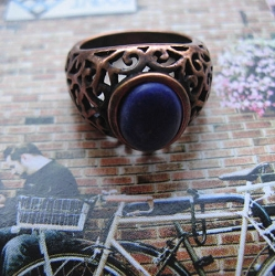 Copper Lapis  Ring CR2710 - Size 8 - 1/2 inch wide.