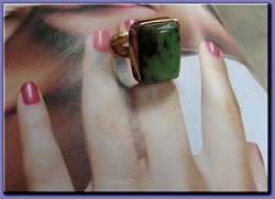 Copper Green Agate  Ring CR338AE - Size 8  - 1/2 an inch wide