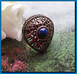 Copper Lapis Stone  Ring CR2635- Size 9 - 1 inch wide.