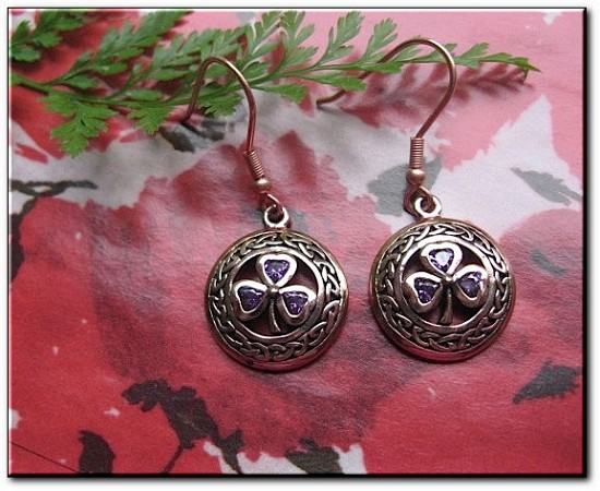 Solid Copper Celtic Shamrock Earrings #CER227 with Amethyst CZ stones.