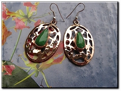 Copper Stone earrings  with Green Turquoise  stones  CE1290 - 1 1/2 inches long.