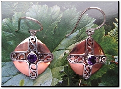 Copper Stone earrings  with Amethyst  stones  CE229VW - 3/4 of an inch long.